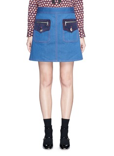 Marc Jacobs Suede patchwork zip denim skirt