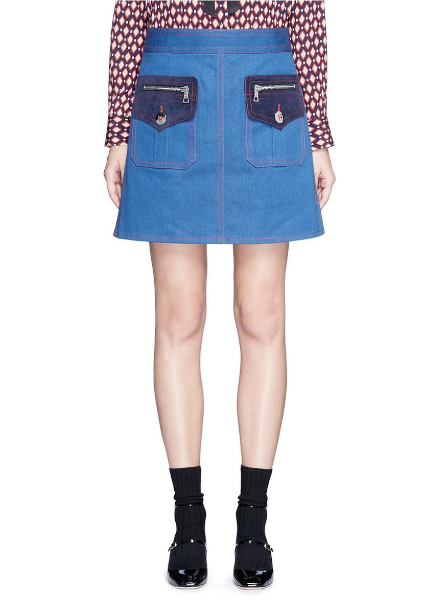 marc jacobs female 201920 suede patchwork zip denim skirt