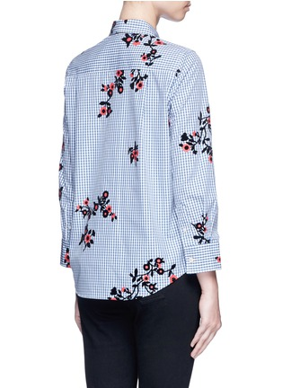 Back View - Click To Enlarge - Marc Jacobs - Satin tie flocked floral print gingham shirt