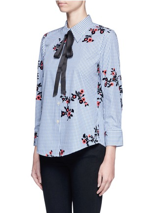 Front View - Click To Enlarge - Marc Jacobs - Satin tie flocked floral print gingham shirt
