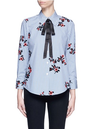 Main View - Click To Enlarge - Marc Jacobs - Satin tie flocked floral print gingham shirt