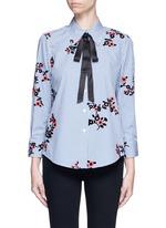 Satin tie flocked floral print gingham shirt