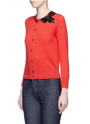 Front View - Click To Enlarge - Marc Jacobs - Sequin bow embellished wool cardigan