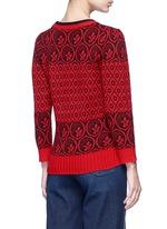 Intarsia wool blend knit sweater