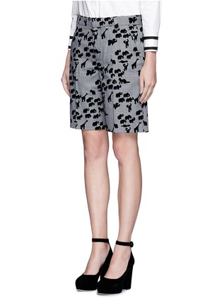 Front View - Click To Enlarge - Marc Jacobs - Flocked animal print glen plaid wool shorts