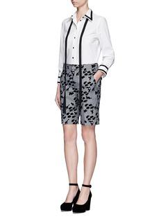 Marc JacobsFlocked animal print glen plaid wool shorts