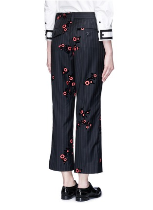 Back View - Click To Enlarge - Marc Jacobs - Floral flock velvet pinstripe pants