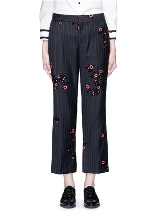 Main View - Click To Enlarge - Marc Jacobs - Floral flock velvet pinstripe pants