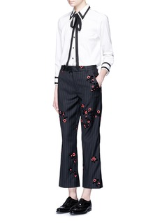 Marc JacobsFloral flock velvet pinstripe pants
