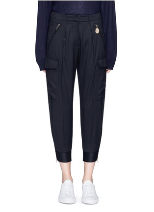 Main View - Click To Enlarge - Stella McCartney - Zip cuff cropped cargo wool pants
