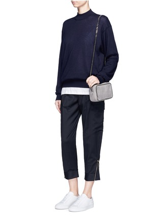 Figure View - Click To Enlarge - Stella McCartney - Zip cuff cropped cargo wool pants