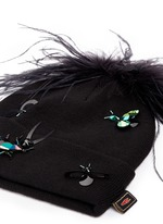 Crystal bug embellished feather pompom beanie