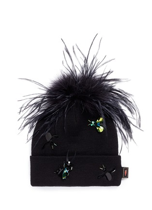 Main View - Click To Enlarge - Piers Atkinson - Crystal bug embellished feather pompom beanie