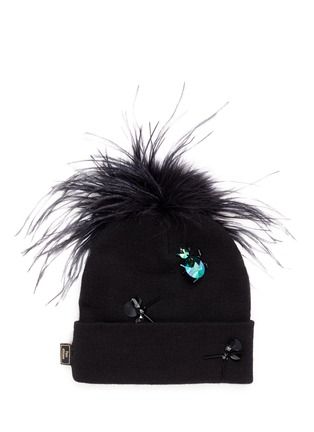 Figure View - Click To Enlarge - Piers Atkinson - Crystal bug embellished feather pompom beanie