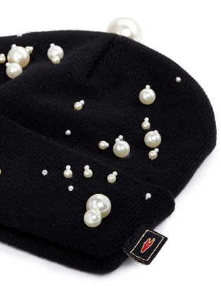 Detail View - Click To Enlarge - Piers Atkinson - Faux pearl embellished knit beanie