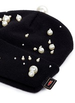 Faux pearl embellished knit beanie
