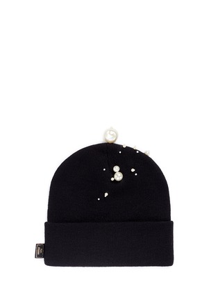 Figure View - Click To Enlarge - Piers Atkinson - Faux pearl embellished knit beanie