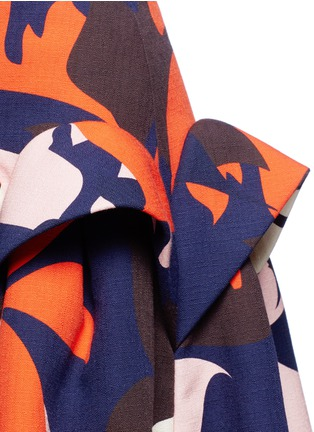 Detail View - Click To Enlarge - DELPOZO - Ruffle trim abstact floral print skirt