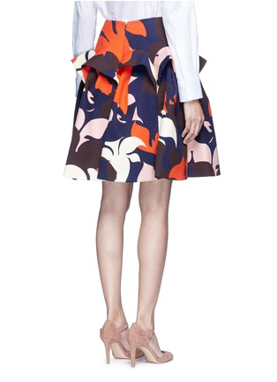 Back View - Click To Enlarge - DELPOZO - Ruffle trim abstact floral print skirt
