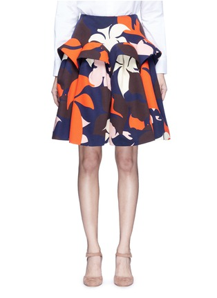 Main View - Click To Enlarge - DELPOZO - Ruffle trim abstact floral print skirt