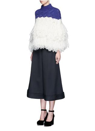 模特儿示范图 - 点击放大 - DELPOZO - 层次流苏拼色混羊驼毛套头针织衫