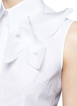 Detail View - Click To Enlarge - DELPOZO - Starched floral appliqué poplin sleeveless shirt