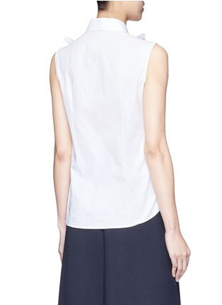 Back View - Click To Enlarge - DELPOZO - Starched floral appliqué poplin sleeveless shirt