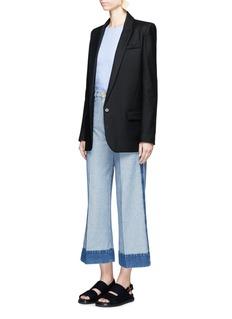 Cédric CharlierContrast trim cropped wide leg jeans