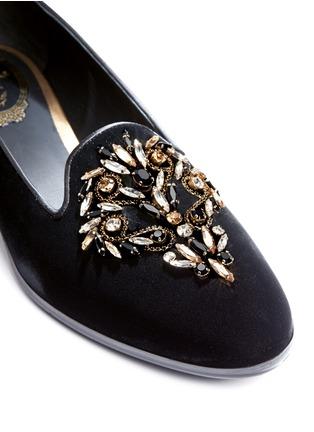 细节 - 点击放大 - RENÉ CAOVILLA - 仿水晶天鹅绒平底鞋