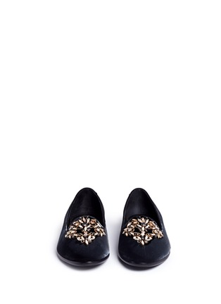 Front View - Click To Enlarge - René Caovilla - Strass embellished velvet slip-ons