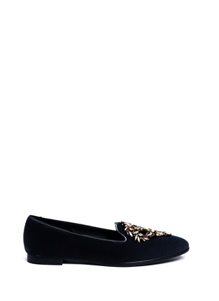 Main View - Click To Enlarge - René Caovilla - Strass embellished velvet slip-ons