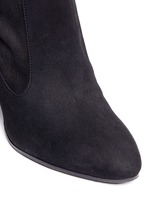 Crystal faux pearl embellished suede boots