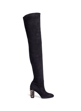 Main View - Click To Enlarge - René Caovilla - Crystal faux pearl embellished suede boots