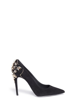 Main View - Click To Enlarge - René Caovilla - 'Deollette' crystal faux pearl embellished suede pumps