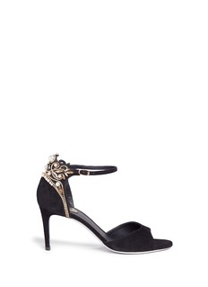 René Caovilla Crystal faux pearl embellished suede sandals