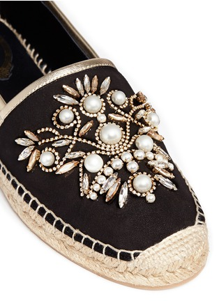 Detail View - Click To Enlarge - René Caovilla - Floral embellished suede espadrilles