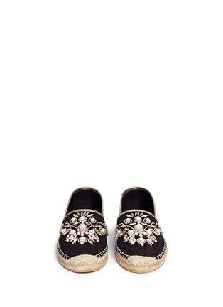 Front View - Click To Enlarge - René Caovilla - Floral embellished suede espadrilles
