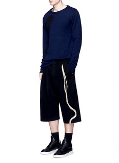 Song for the Mute Straw needle punch cropped wool pants