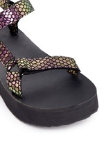 'Flatform Universal Iridescent' snakeskin embossed leather sandals