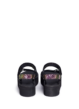Back View - Click To Enlarge - Teva - 'Flatform Universal Iridescent' snakeskin embossed leather sandals