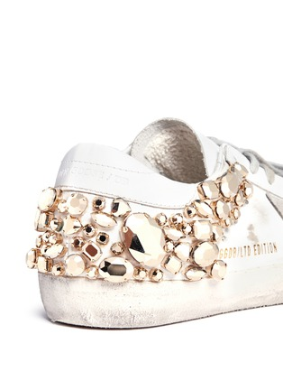 Detail View - Click To Enlarge - Golden Goose - 'Superstar' limited edition metallic crystal distressed leather sneakers