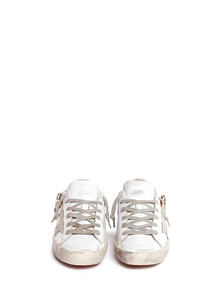 Front View - Click To Enlarge - Golden Goose - 'Superstar' limited edition metallic crystal distressed leather sneakers