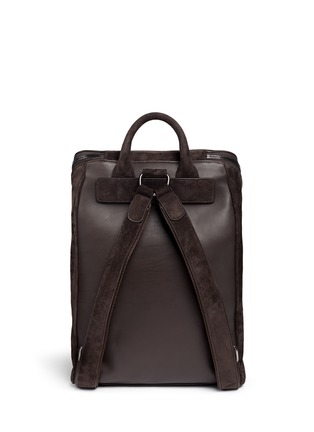 Back View - Click To Enlarge - GIORGIO ARMANI - Leather back suede backpack