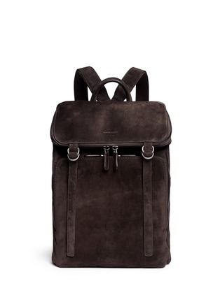 Main View - Click To Enlarge - GIORGIO ARMANI - Leather back suede backpack