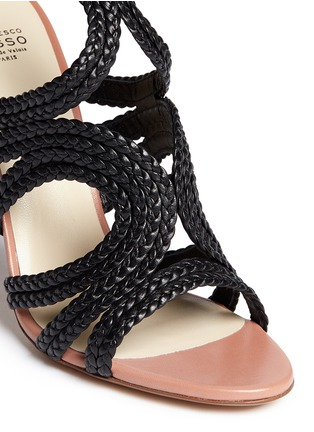Detail View - Click To Enlarge - Francesco Russo - Braided leather sandals