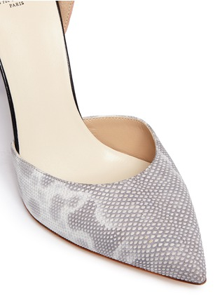 Detail View - Click To Enlarge - Francesco Russo - Suede snakeskin leather d'Orsay pumps