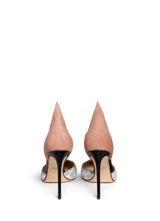 Back View - Click To Enlarge - Francesco Russo - Suede snakeskin leather d'Orsay pumps