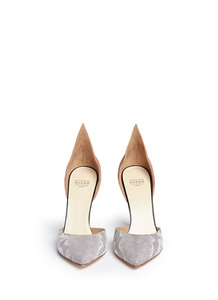 Front View - Click To Enlarge - Francesco Russo - Suede snakeskin leather d'Orsay pumps