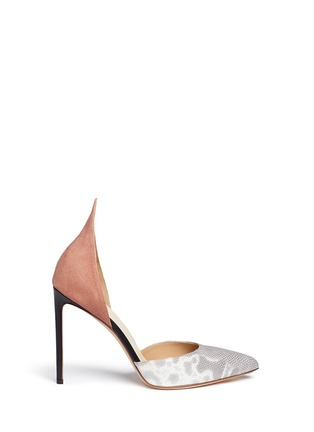 Main View - Click To Enlarge - Francesco Russo - Suede snakeskin leather d'Orsay pumps
