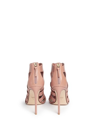 Back View - Click To Enlarge - Francesco Russo - Caged kid leather sandal booties